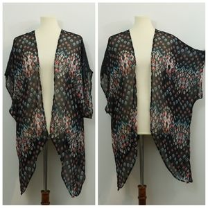 Just Be Chiffon Printed Crochet Trim Kimono